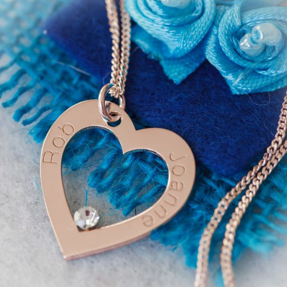 9ct Rose Gold Personalised Heart Necklace With CZ Crystal