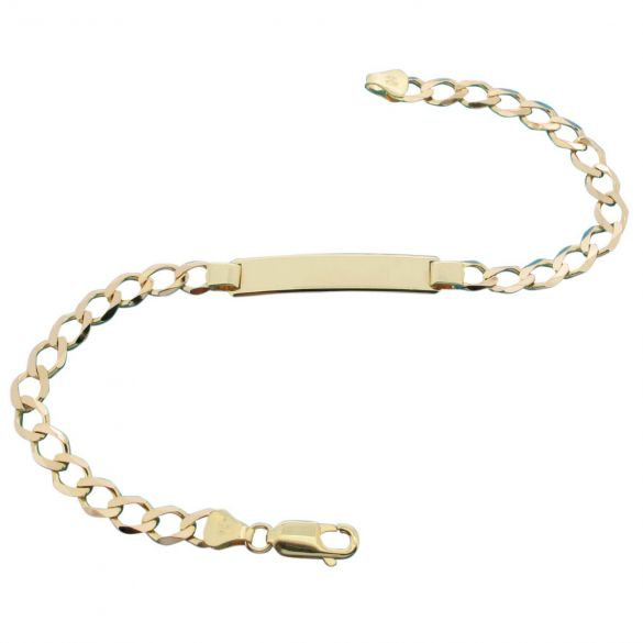 9ct Yellow Gold Ladies Curb ID Bracelet With Optional Engraving