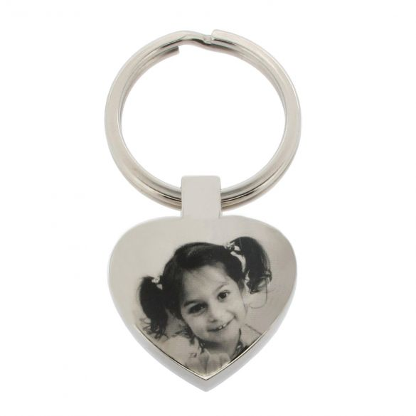 Mirror Polished Photo Engraved Heart Keyring