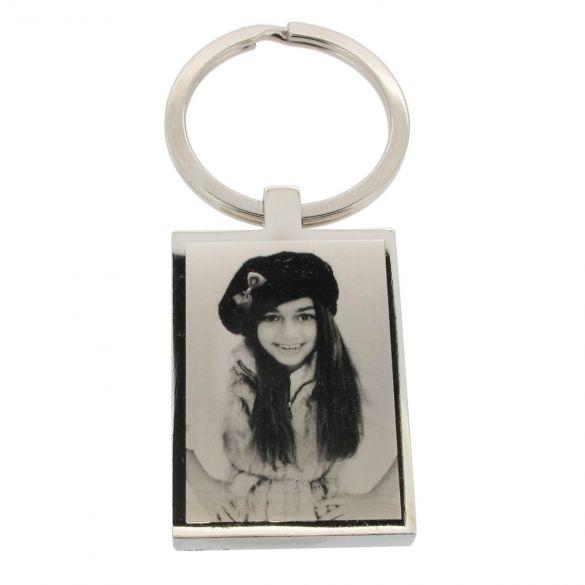 Mirror Polished Photo Engraved Rectangle Keyring
