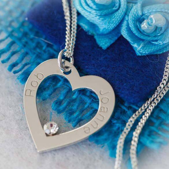 9ct White Gold Personalised Heart Necklace With CZ Crystal