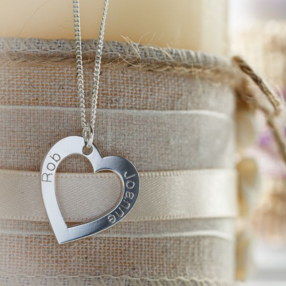 9ct White Gold Personalised Heart Necklace