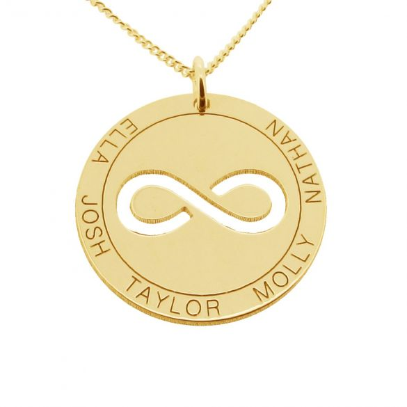 Yellow Gold Plated Personalised Infinity Disc Pendant