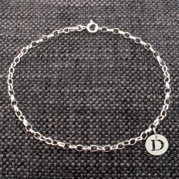Sterling Silver Belcher Bracelet With Initial Disc Charm