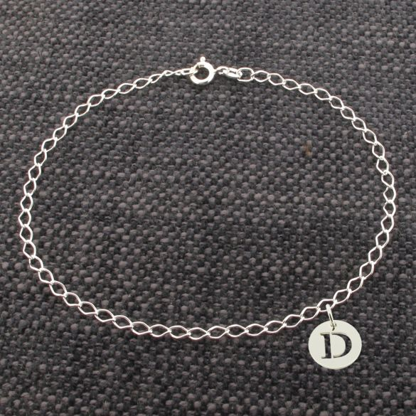 Sterling Silver Anklet With Initial Charm