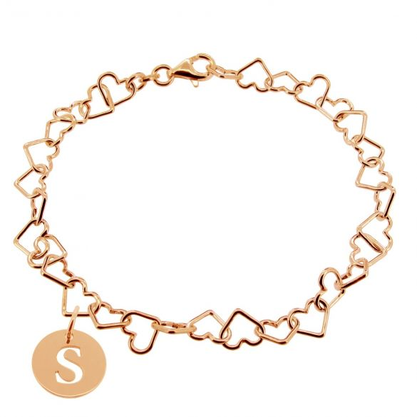 9ct Rose Gold Plated Light Heart Charm Bracelet With Initial Disc Charm