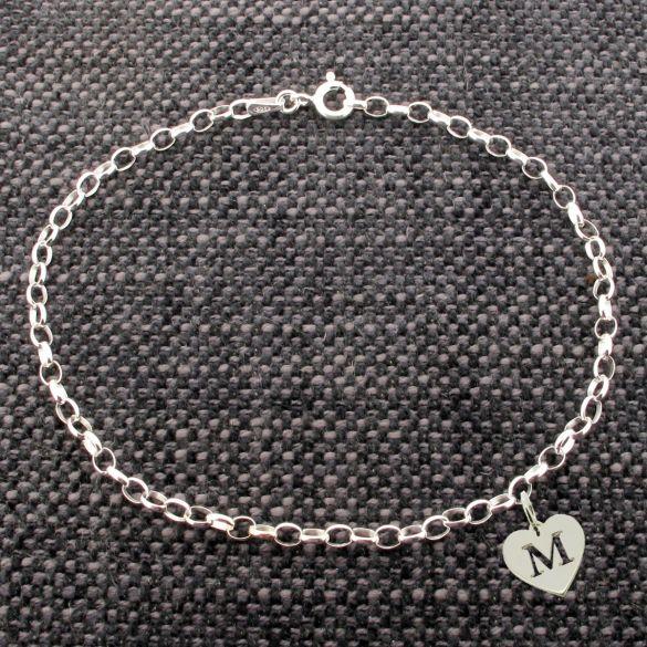 Sterling Silver Belcher Bracelet With Initial Heart Charm