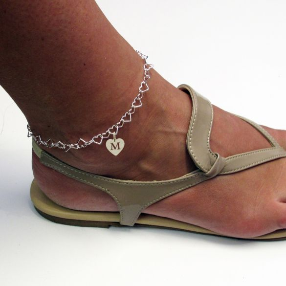 Sterling Silver Light Heart Charm Anklet With Initial Heart Charm