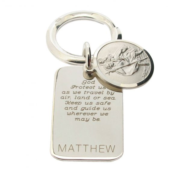 Sterling Silver Personalised Rectangle St Christopher Keyring With Travellers Prayer