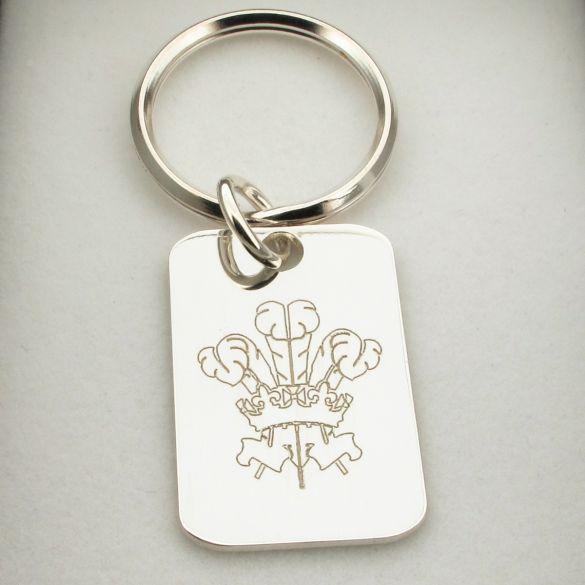 Sterling Silver Welsh Three Feathers Keyring With Optional Engraving