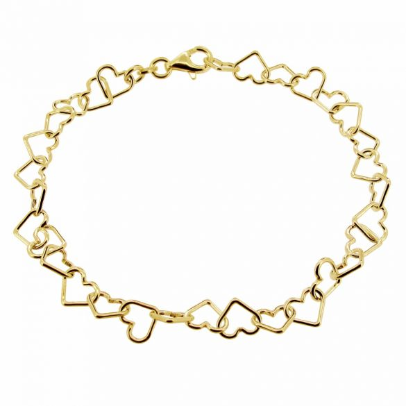 9ct Yellow Gold Plated Heart Link Charm Anklet