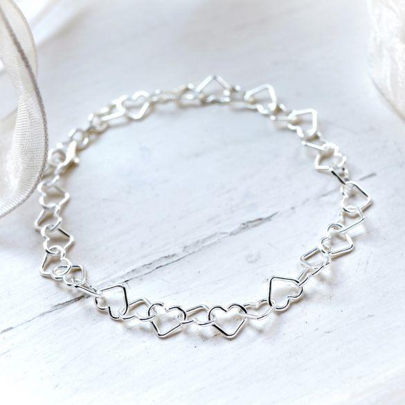 Sterling Silver Heart Link Charm Bracelet