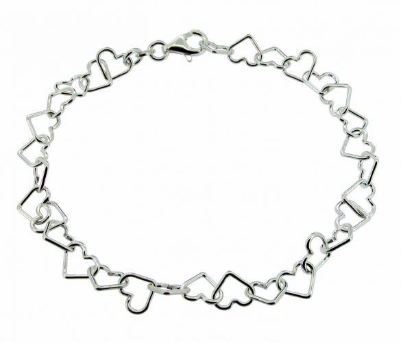 Sterling Silver Heart Link Charm Anklet