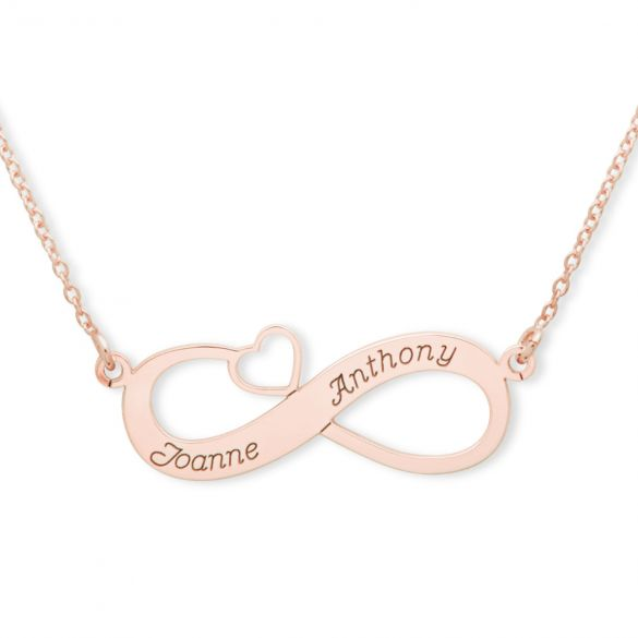 9ct Rose Gold Plated Infinity With Heart Necklace