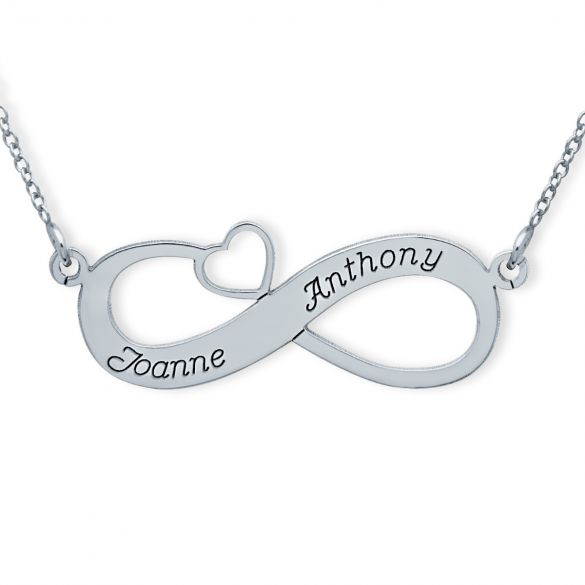 9ct White Gold Infinity With Heart Necklace