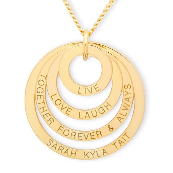 9ct Gold Plated Live Laugh Love Together Forever Family Pendant