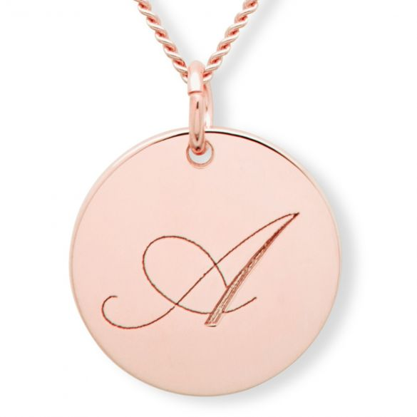 9ct Rose Gold Engraved Inital Disc  And Optional Chain