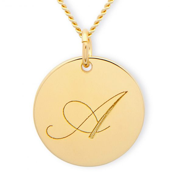9ct Yellow Gold Engraved Inital Disc & Optional Chain