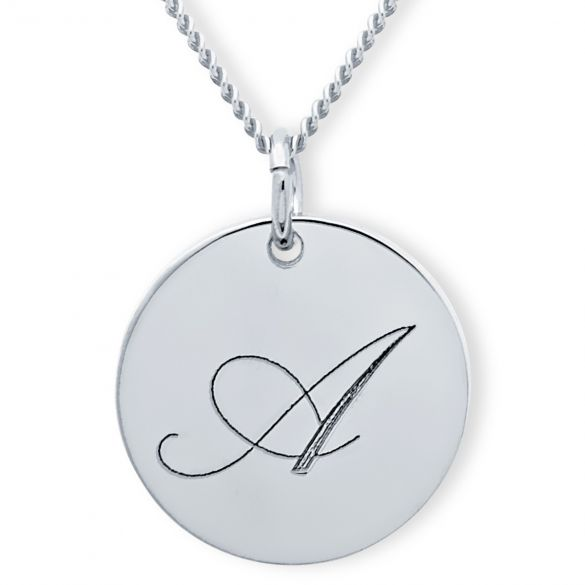 9ct White Gold Engraved Inital Disc & Optional Chain