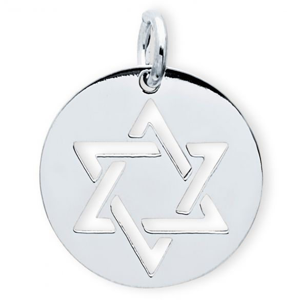 Sterling Silver Star Of David Disc Pendant