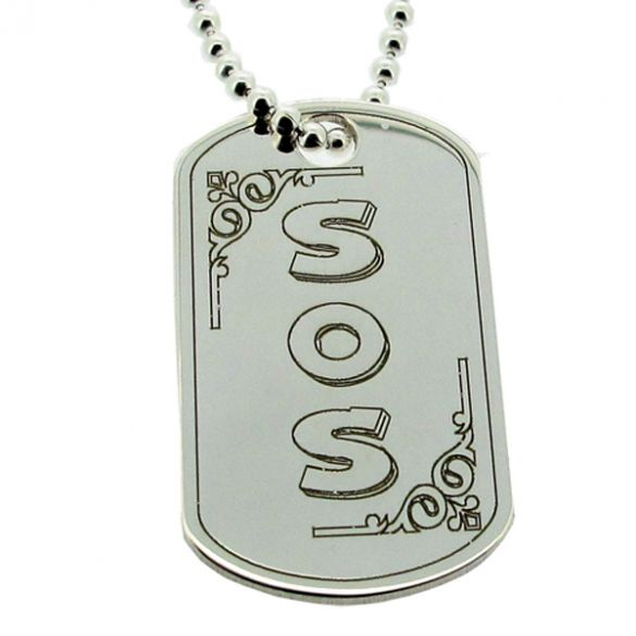 Sterling Silver Medical Alert SOS Large Dog Tag With Engraving