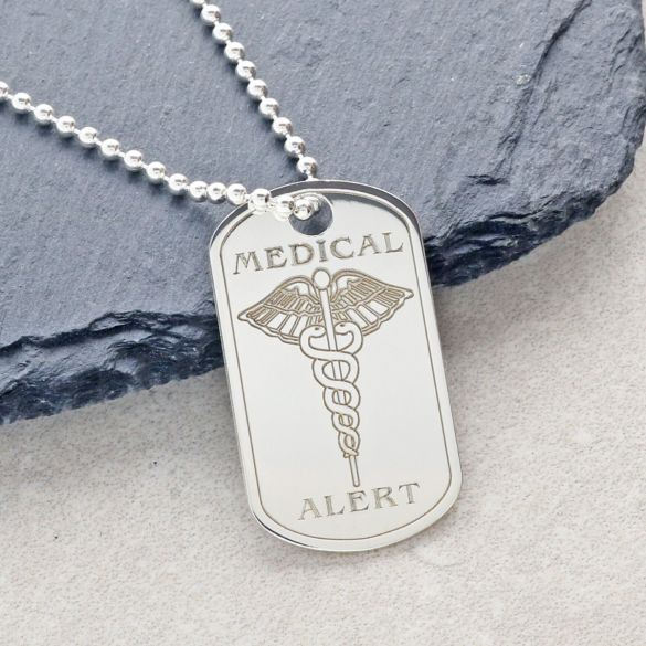 Sterling Silver Medical Alert Dog Tag With Optional Engraving