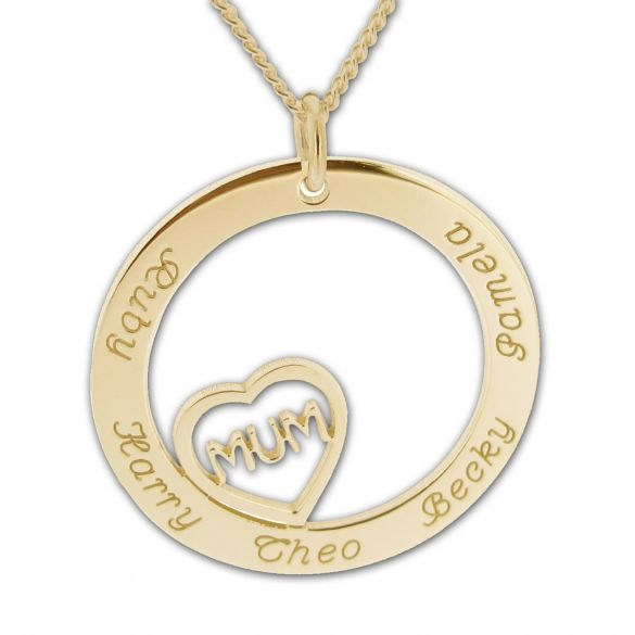 Solid Yellow Gold Mum Heart Disc Personalised Necklace