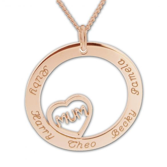 Solid Rose Gold Mum Heart Disc Personalised Necklace