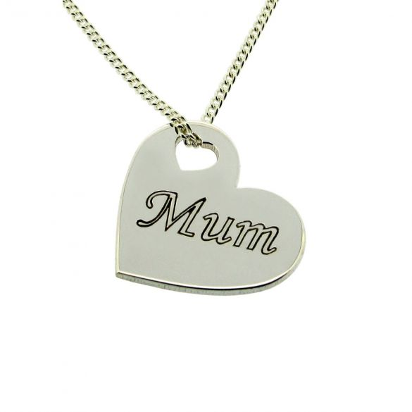 Sterling Silver Mum Heart Pendant With Engraving