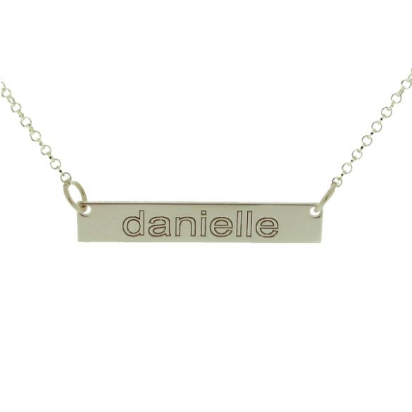 Sterling Silver Name Bar Tag Pendant