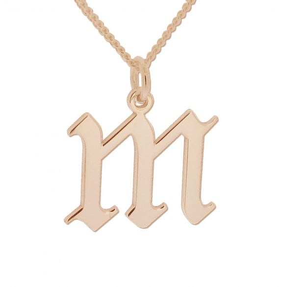 9ct Rose Gold Gothic Initial & Optional Chain