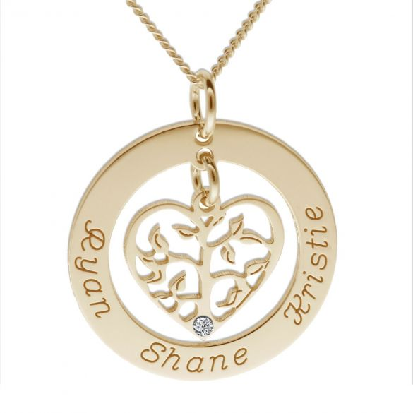 9ct Yellow Gold Filigree Heart Tree of Life Family Necklace With Clear Swarovski Crystal