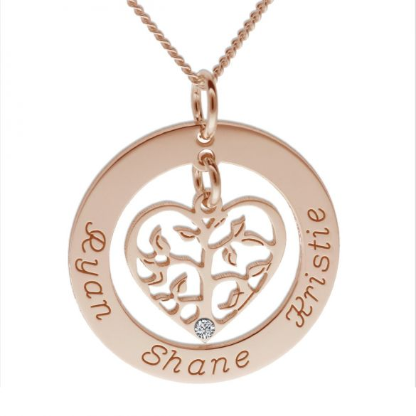 9ct Rose Gold Filigree Heart Tree of Life Family Necklace With Swarovski Crystal Or Real Diamond