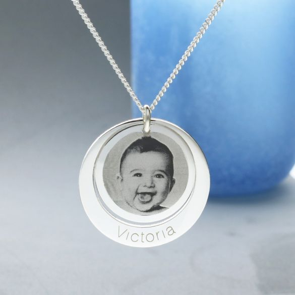 Sterling Silver Personalised Photo Double Disc Pendant
