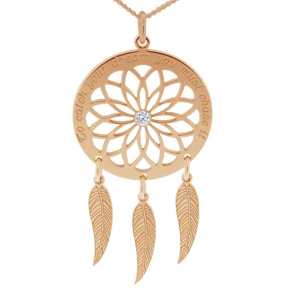 9ct Rose Gold Dream Catcher and Feathers Necklace With Crystal