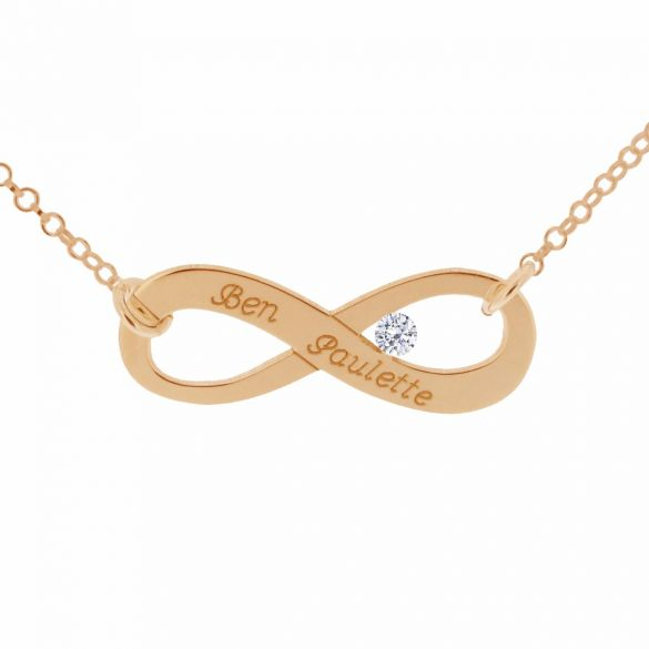 9ct Rose Gold Plated Infinity Necklace With CZ Crystal