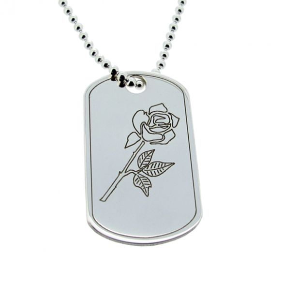 Sterling Silver English Rose Dog Tag With Engraving