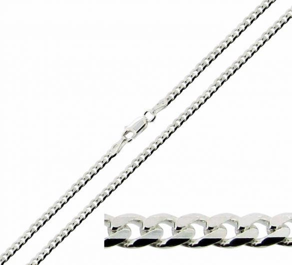 Sterling Silver 3.2mm Diamond Cut Curb Chain