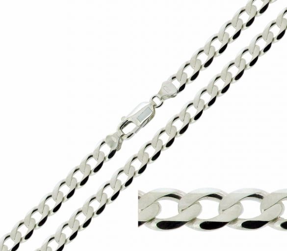 Sterling Silver 6mm Diamond Cut Curb Chain