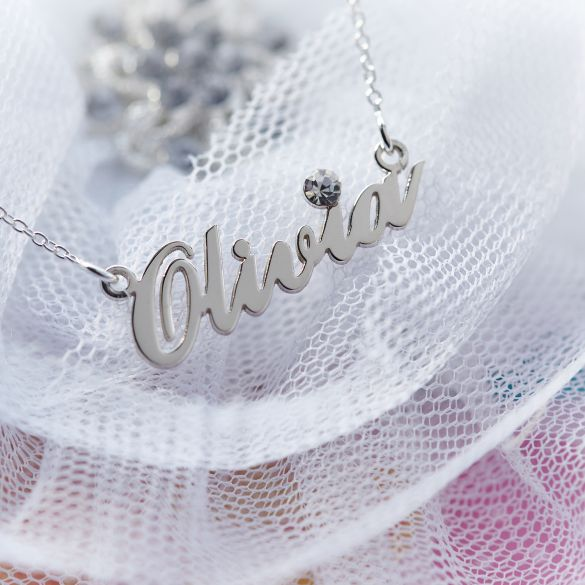 Sterling Silver Carrie Style Personalised Name Necklace With Crystal (Sex & The City)