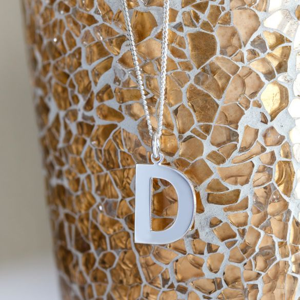 9ct White Gold Block Initial Pendant