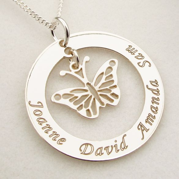 Sterling Silver Personalised Disc With Hanging Butterfly Pendant Necklace