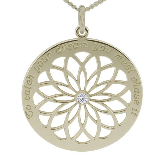9ct White Gold Dream Catcher Necklace With Crystal