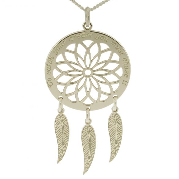 9ct White Gold Dream Catcher and Feathers Necklace