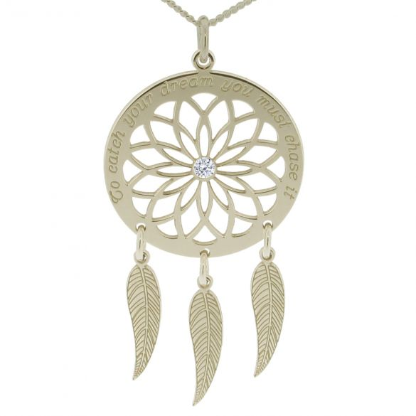 9ct White Gold Dream Catcher and Feathers Necklace With Crystal