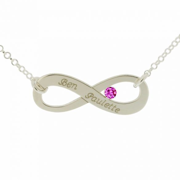 9ct White Gold Infinity Necklace With CZ Crystal