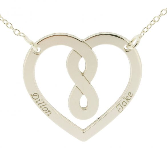 9ct White Gold Heart Infinity Necklace