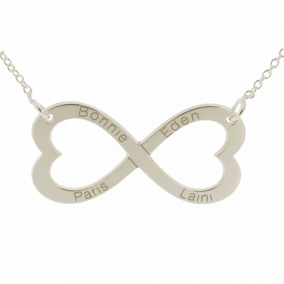 9ct White Gold Infinity Heart Necklace