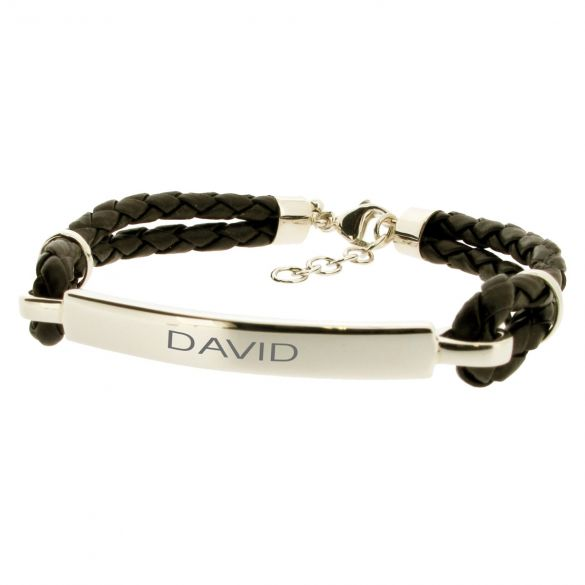 Mens ID Bracelet Leather and Sterling Silver