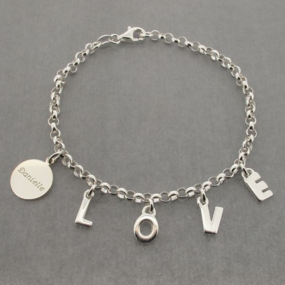 Sterling Silver Love Bracelet With Engraved Sterling Silver Disc
